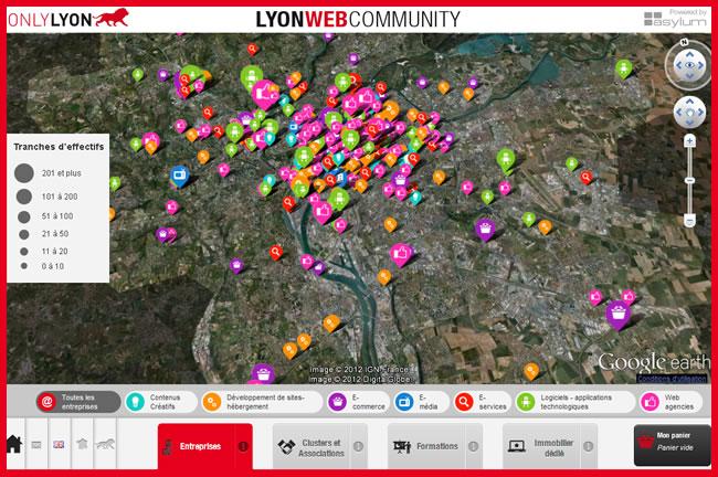 Carte interactive de l'éco-système web lyonnais