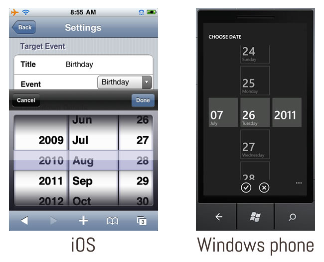 Comparaison interface windows phone et iOS - Datepicker