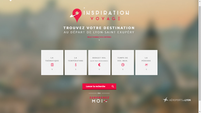 Homepage du site inspiration Voyage